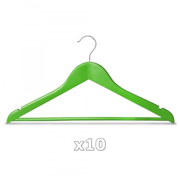 10 Stück Kleiderbügel Holz grün mit Hosenstange