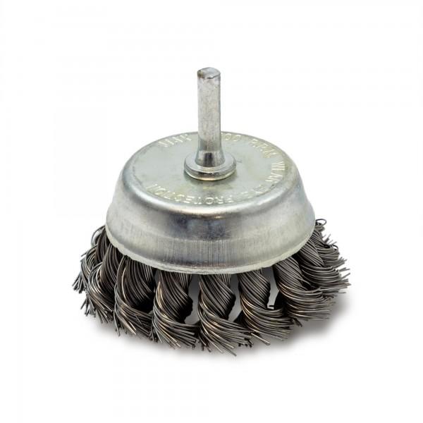 75 mm Topfbürste gezopft - 6 mm Schaft