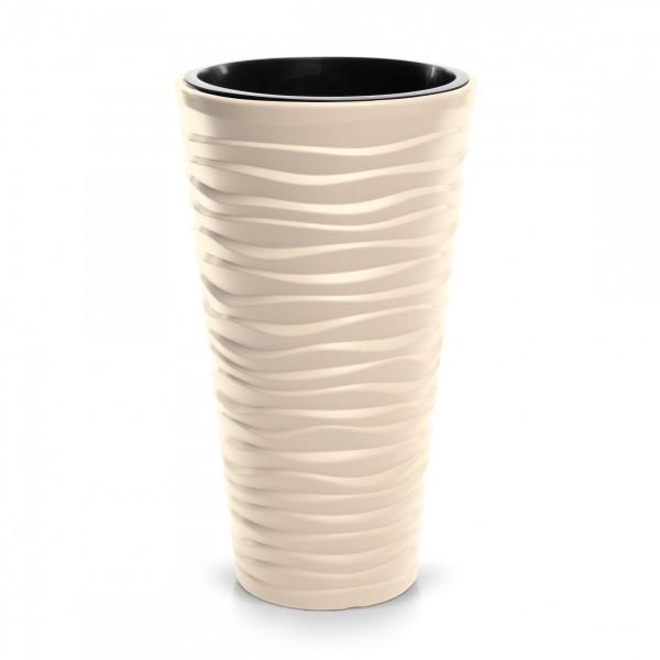 Blumentopf schmal Design Welle in 3D-Optik + Einsatz - creme Ø 390 mm