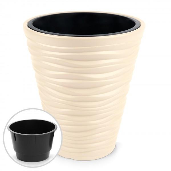 Kunststoff Blumentopf Wüstensand Optik + Einsatz - creme Ø 295 mm