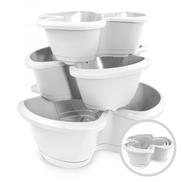 3-Etagen-Kräutertopf inkl. Untersetzer - weiß - 470 mm - 28,1 Liter