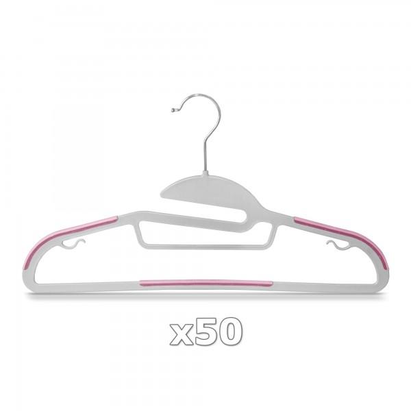 50 Stück - Kleiderbügel Kunststoff Anti-rutsch / extra dünn - Grau / Pink