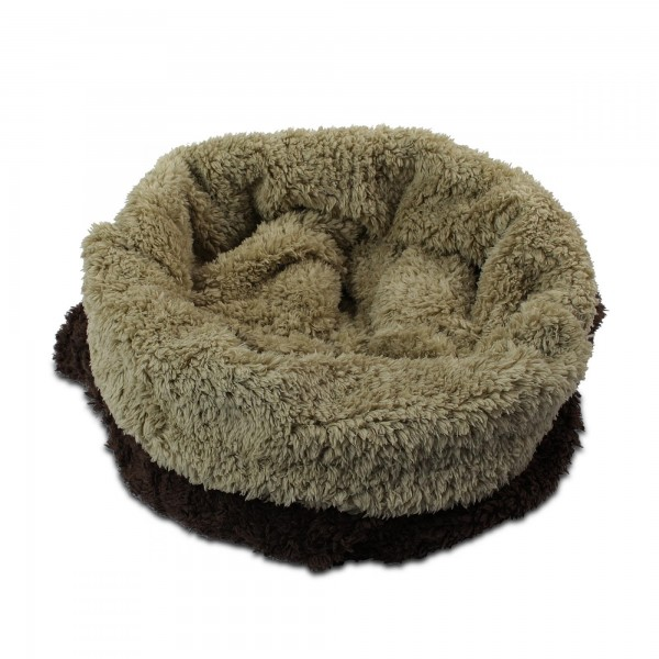 3in1 Decke Deluxe - Schlafsack - Kissen für Hunde und Kleintiere - Braun + Beige