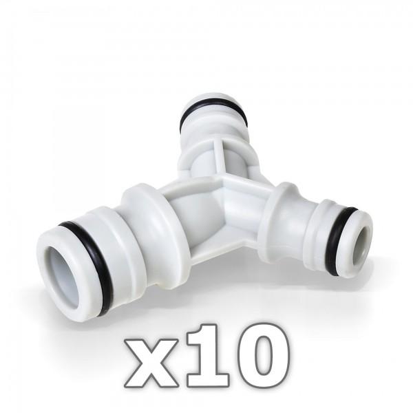 """10 x Berlan 3-Wege-Schlauchkupplung (Y-Verteiler) 3/4 auf 1/2"""" Zoll - RED LINE -"""