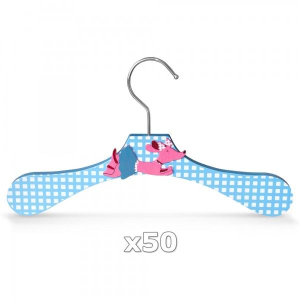 50 Stück - Kinder-Kleiderbügel aus Holz - Motiv Dackel