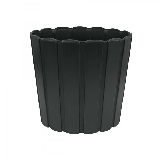 Kunststoff Blumentopf mit Brettmuster - 120 mm Durchmesser - anthrazit