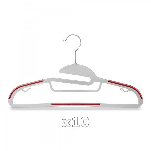 10 Stück - Kleiderbügel Kunststoff Anti-rutsch / extra dünn - Grau / Rot