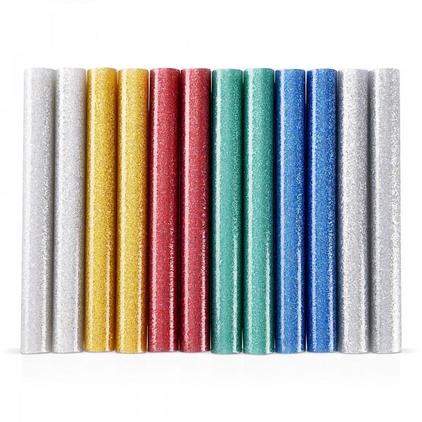 12x Heißklebestick bunt glitzernd (6 Farben x 2 Stück) Ø 11x100mm