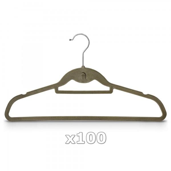 100 Stück - Kleiderbügel mit Samt überzogen & Hosenstange