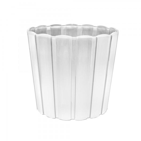 Kunststoff Blumentopf mit Brettmuster - 285 mm Durchmesser - weiß