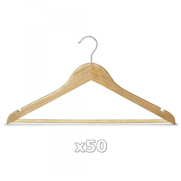 50 Stück Kleiderbügel Holz natur mit Hosenstange