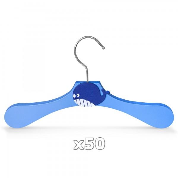 50 Stück - Kinder-Kleiderbügel aus Holz - Motiv Wal