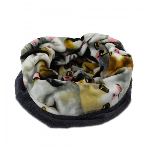 3in1 Decke - Schlafsack - Kissen für Katzen und Kleintiere - Grau + Motiv Katze