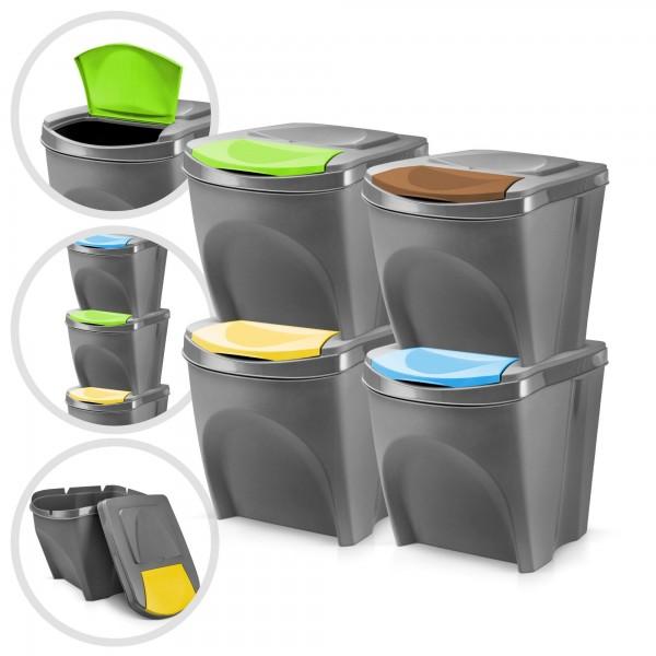 4er Set Kunststoff Mülleimer - grau - 4 x 20 Liter - stapelbar