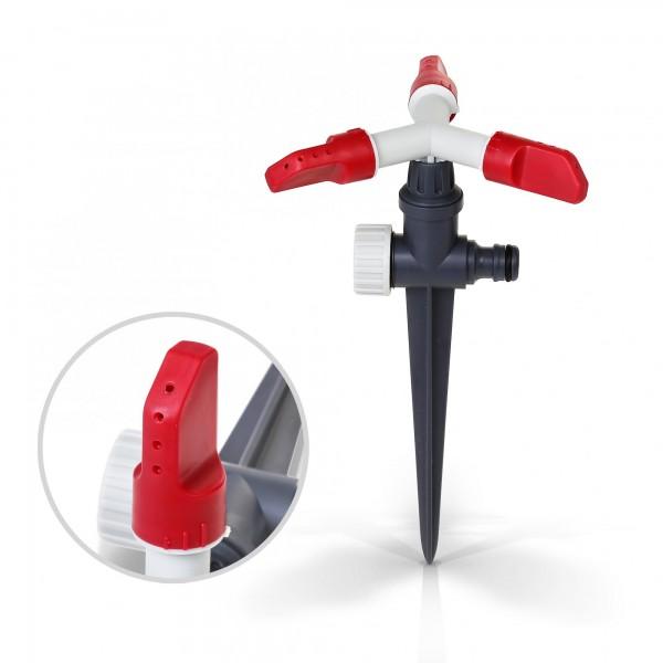 Berlan 3-Arm-Kreisregner mit Kunststoff Erdspieß - RED LINE -