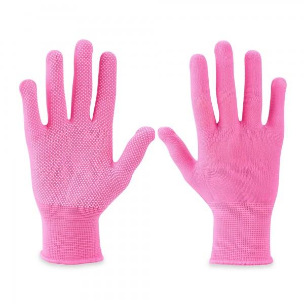 PVC Damen-Arbeitshandschuhe - genoppt - Gr. 7 - rosa