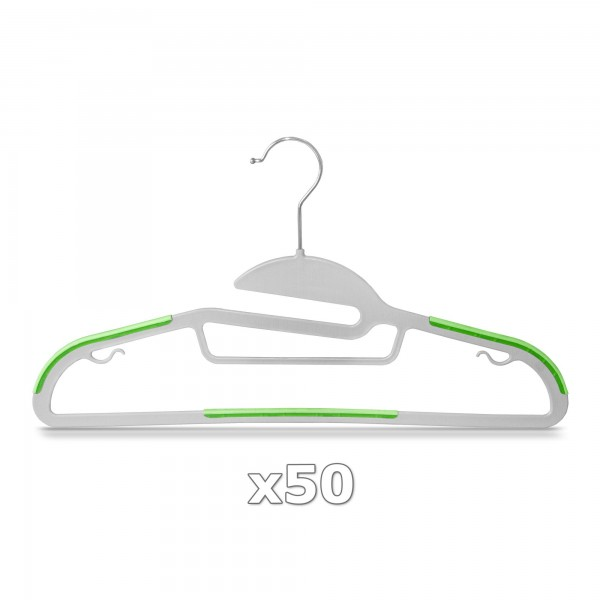 50 Stück - Kleiderbügel Kunststoff Anti-rutsch / extra dünn - Grau / Grün