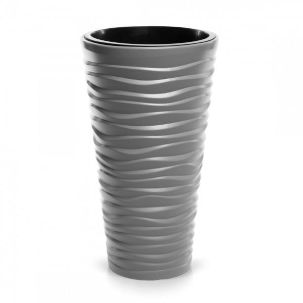 Blumentopf schmal Design Welle in 3D-Optik + Einsatz - steingrau Ø 390 mm