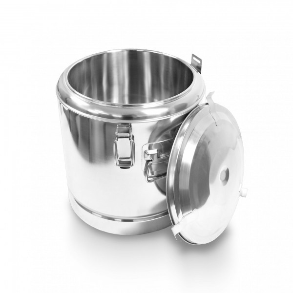 Schengler Edelstahl Thermobehälter 35 Liter - 40 x 40 cm + Deckel