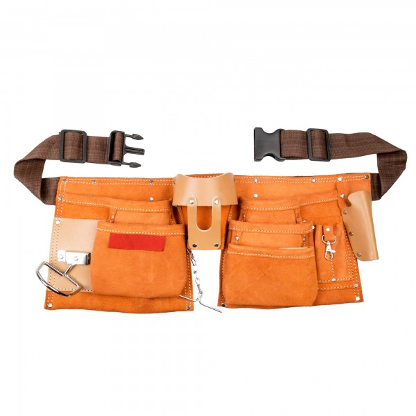 Werkzeuggürtel 9 Fächer aus Leder - 80 bis 130 cm Länge