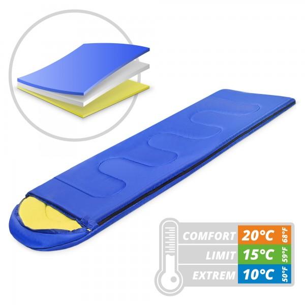 Schlafsack 220 x 75 cm - blau/gelb - bis 10 °C