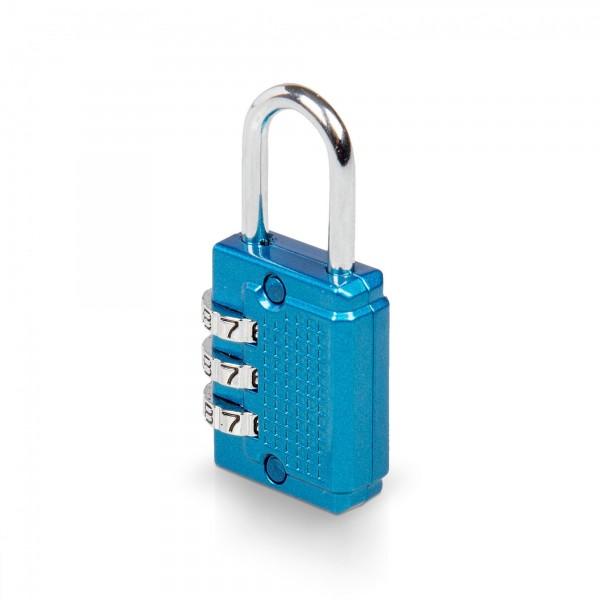 Zahlenschloss mit 3-stelligem Code - 26 x 55 mm - blau