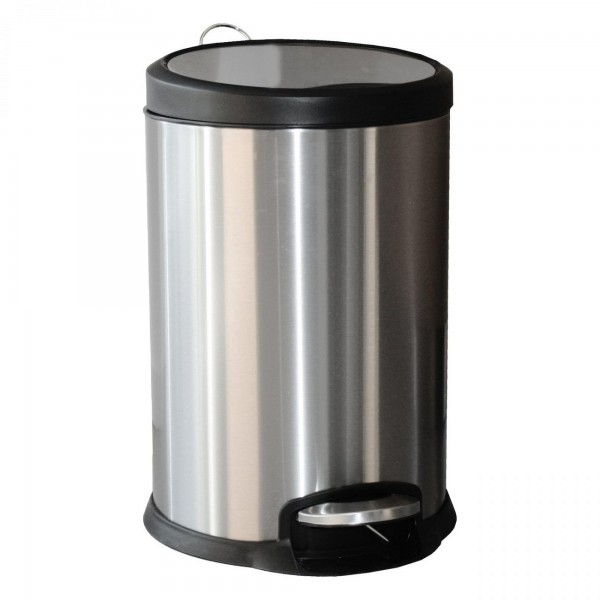 Edelstahl Tretabfalleimer - 20 Liter - silber