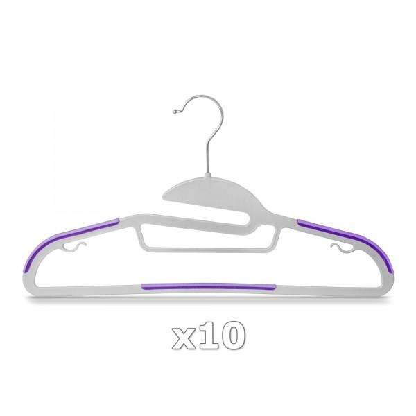 10 Stück - Kleiderbügel Kunststoff Anti-rutsch / extra dünn - Grau / Lila