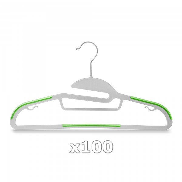 100 Stück - Kleiderbügel Kunststoff Anti-rutsch / extra dünn - Grau / Grün