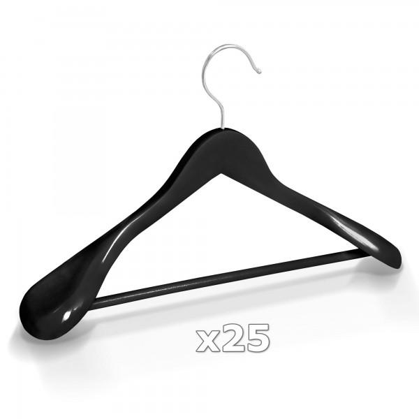25 Stück Kleiderbügel Holz breite Schulterauflage mit Hosenstange - Schwarz