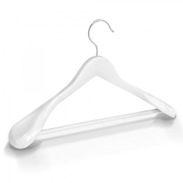 Kleiderbügel Holz breite Schulterauflage mit Hosenstange - Weiß