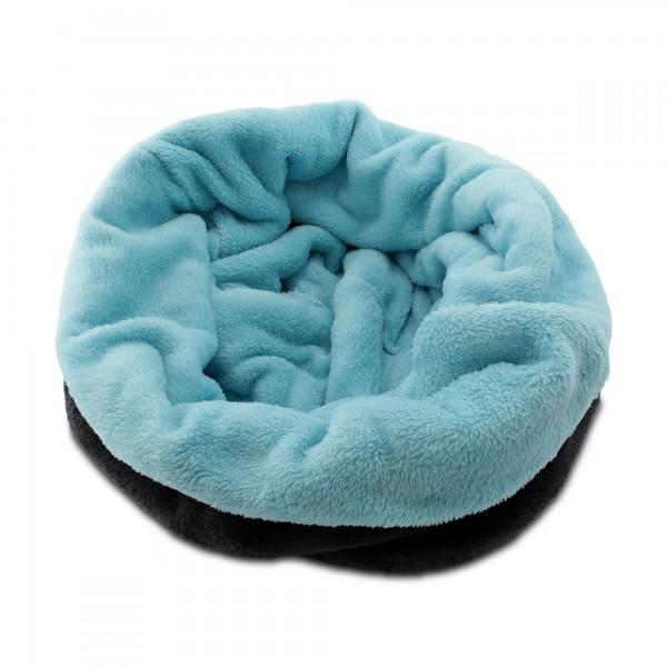 3in1 Decke - Schlafsack - Kissen für Katzen und Kleintiere - Dunkelgrau + Türkis