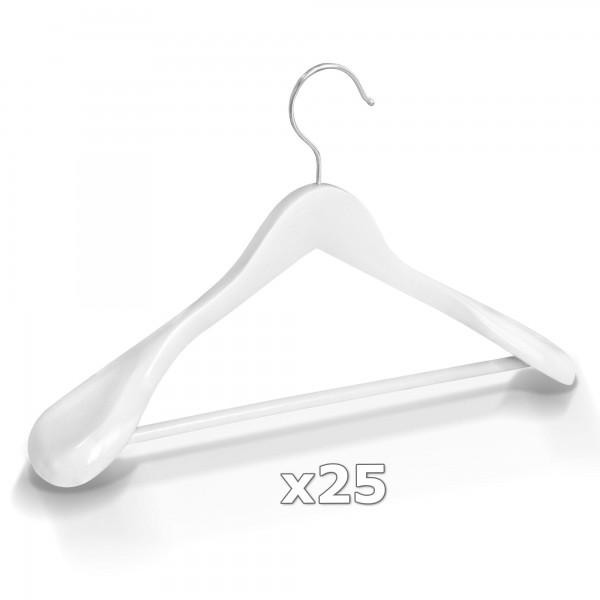 25 Stück Kleiderbügel Holz breite Schulterauflage mit Hosenstange - Weiß