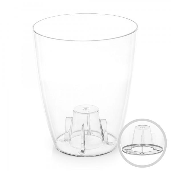 Orchideentopf - Durchmesser 132 mm - transparent / weiß - rund