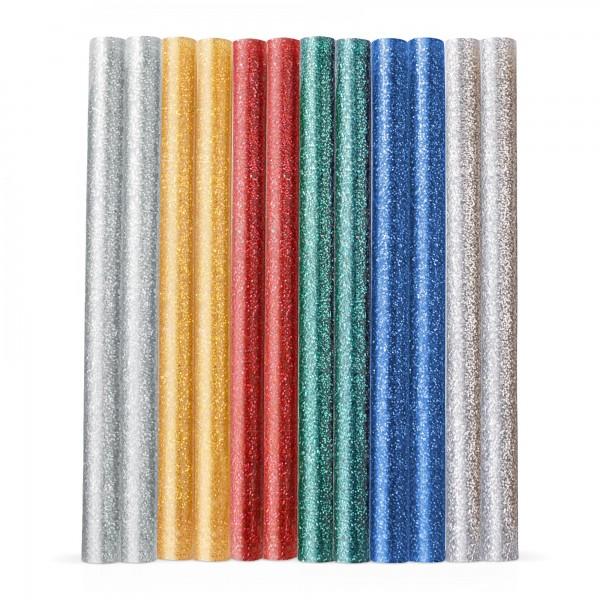 12x Heißklebestick bunt glitzernd (6 Farben x 2 Stück) Ø 7,2x100mm