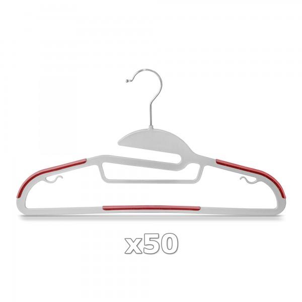 50 Stück - Kleiderbügel Kunststoff Anti-rutsch / extra dünn - Grau / Rot