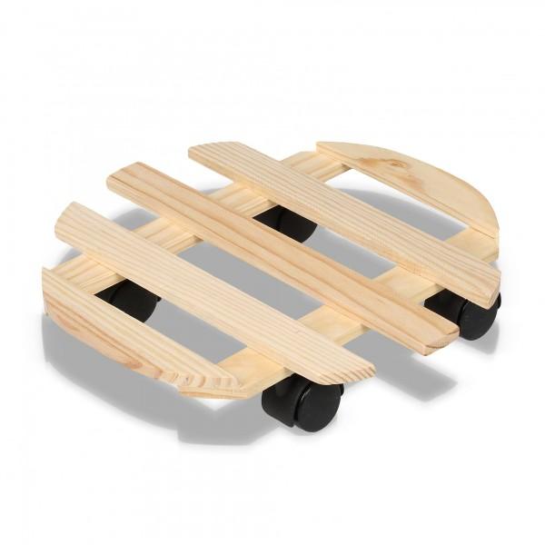 Holz Pflanzenroller - 32 cm mit 4 Rollen - rund