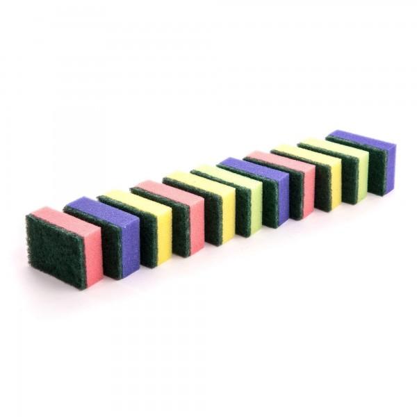 10+1 Set Küchenschwämme doppelseitig in 4 Farben - 80 x 55 x 30 mm