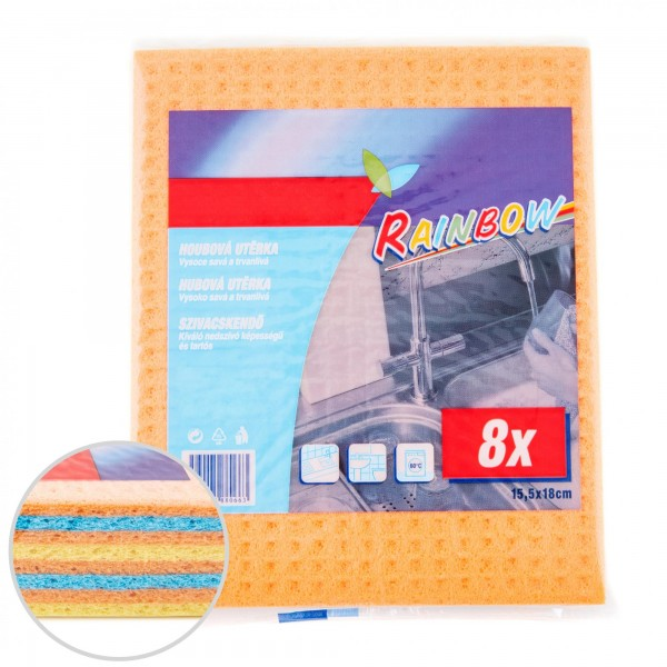 8 x Schwammtücher Pack - verschiedene Farben - 15,5 x 18 cm
