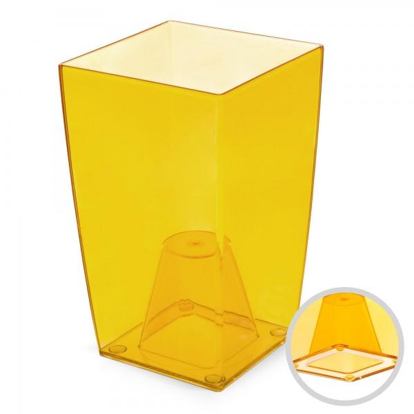 Orchideentopf - Höhe 200 mm - transparent / orange - eckig