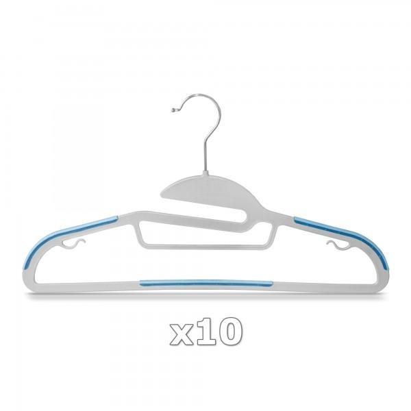 10 Stück - Kleiderbügel Kunststoff Anti-rutsch / extra dünn - Grau / Blau