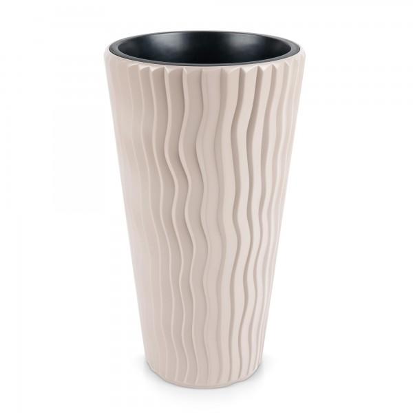 Kunststoff Blumentopf Wüstensand schmal + Einsatz - mocca Ø 390 mm