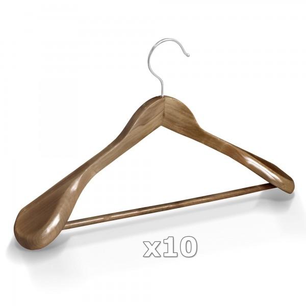 10 Stück Kleiderbügel Holz breite Schulterauflage mit Hosenstange - Antik