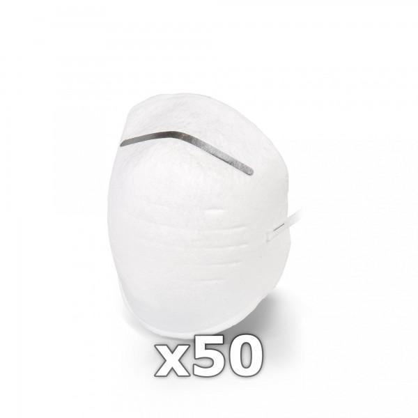 50 x Staubschutzmaske / Mundschutz - weiß