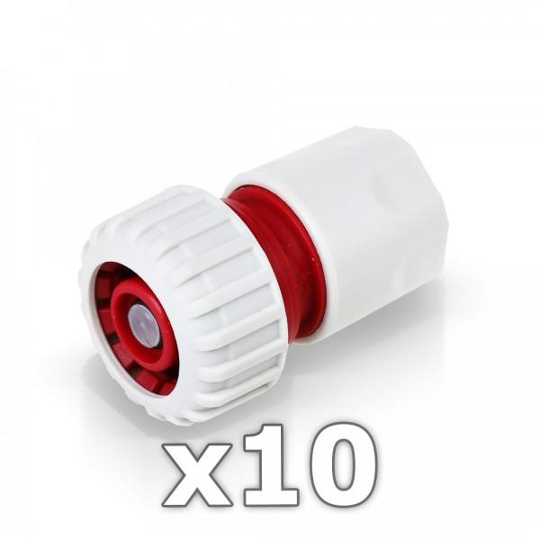 10 x Berlan Schlauchstück 3/4'' Zoll mit Wasserstop -RED LINE-