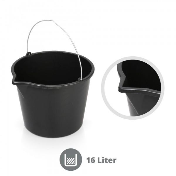 16 Liter Mörteleimer mit Gießrand schwarz