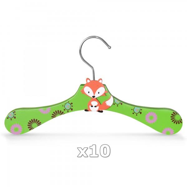 10 Stück - Kinder-Kleiderbügel aus Holz - Motiv Fuchs