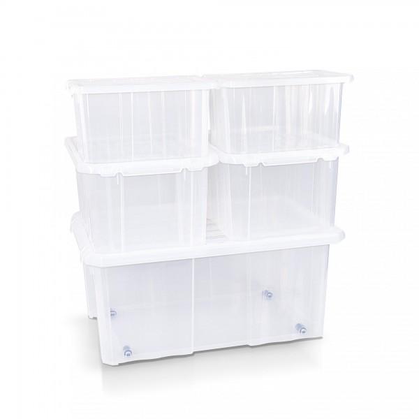 5-tlg.Set Aufbewahrungsbox 2x30/2x40/60 cm transparent + Deckel