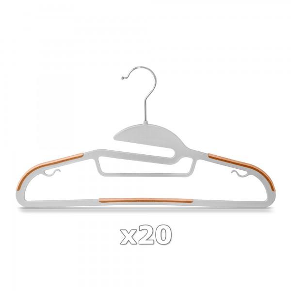 20 Stück - Kleiderbügel Kunststoff Anti-rutsch / extra dünn - Grau / Orange