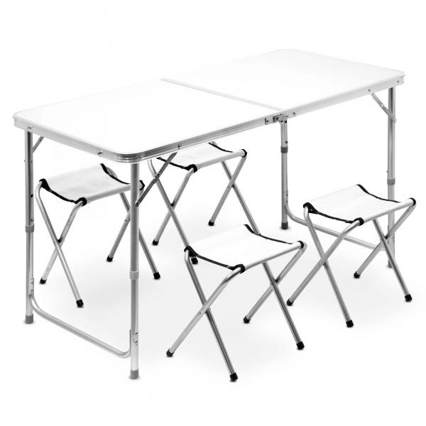 Set Campingtisch 120 cm mit 4 Stühlen - klappbar - weiß
